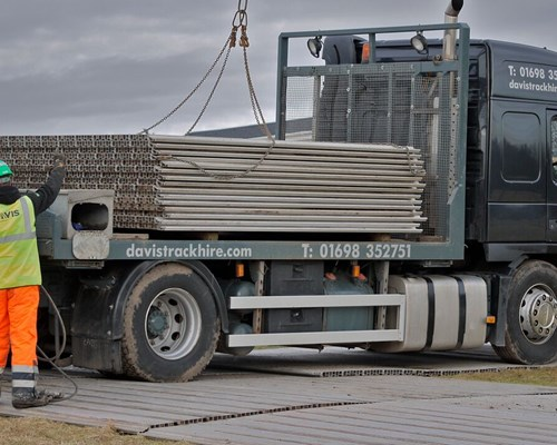 Aluminium trackway panels on a truck